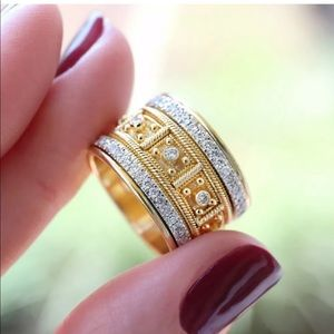 Two tone gold tribe ring
